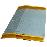 Steel Dock Board with 13, 000 lb capacity, comes with side rails, legs and handles /chains for easy movement